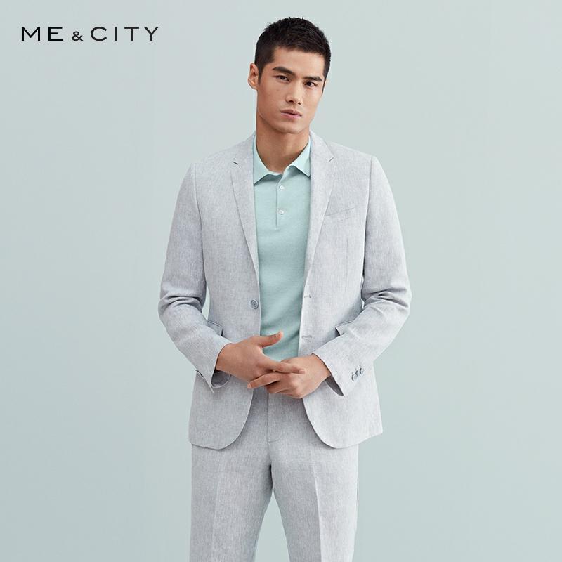 Me&City Mens Fashion Wool Linen Blazer Brand Business Blazer Tide Design Casual Male Smart Suit Jacket Costume Homme 536370