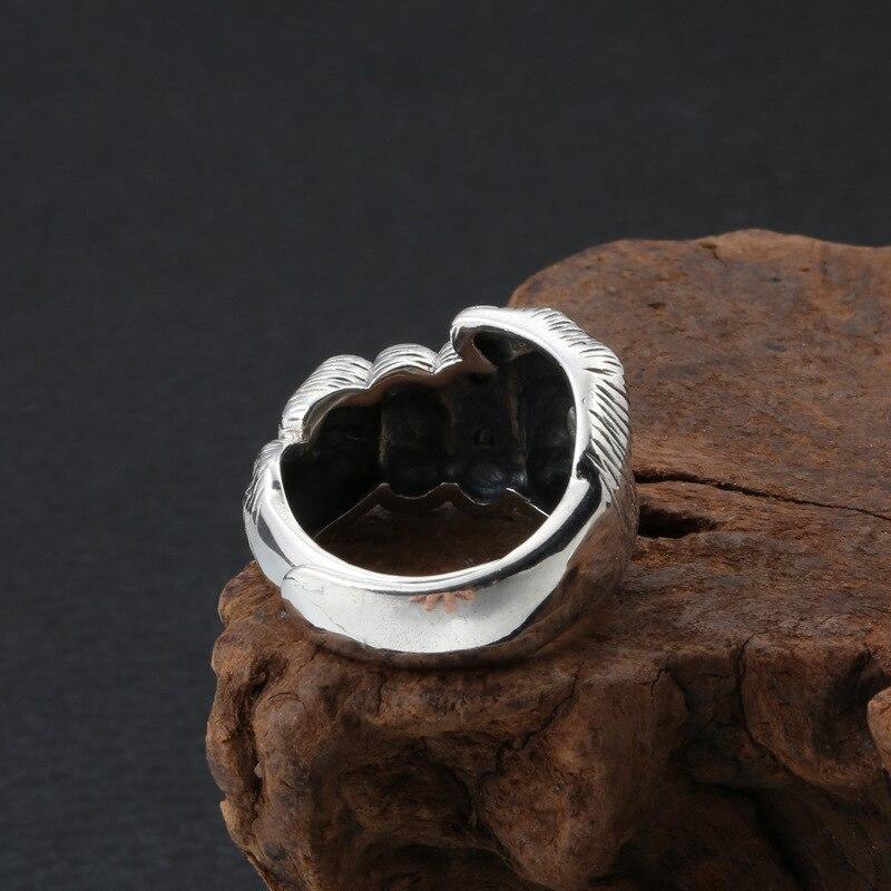2020 créatif Punk poing crâne croix réglable anneau 100% réel S925 argent Sterling bijoux fins hommes déclaration amour Simple anneau - 2