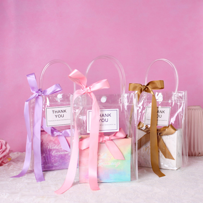 PVC Transparent Tote Bag Ribbon Candy Gift Box Package Bags Wedding Bridesmaid Gift Dragee Packaging Party Wrapping With Box