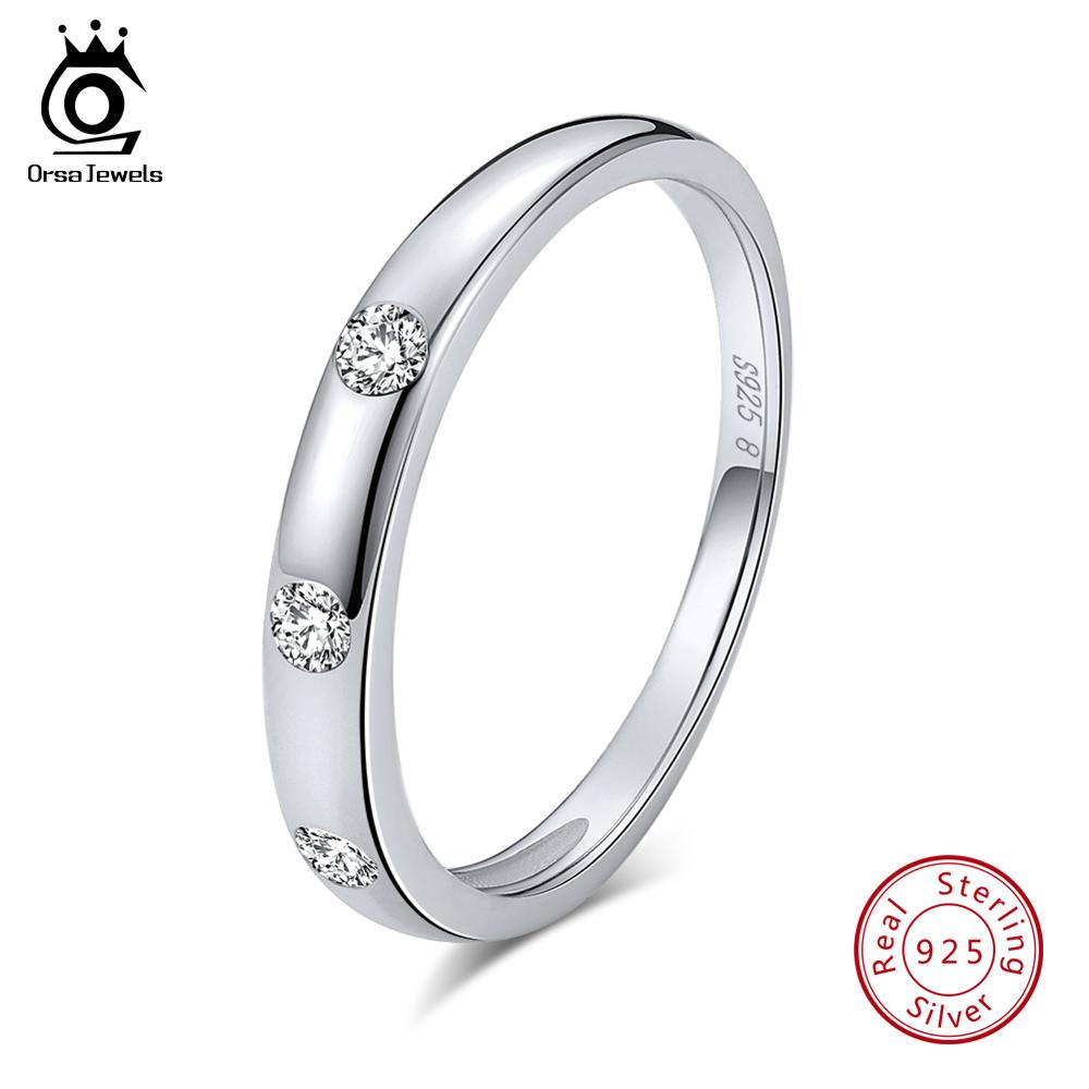 ORSA JEWELS 100% 925 Sterling Silver Rings For Women AAA Zircon Female Wedding Band Engagement Ring Fashion Jewelry Gift SR67