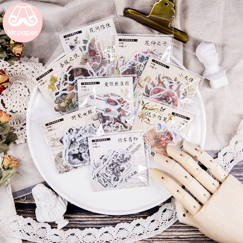 Mr.paper 40Pcs/pack 8 Designs Vintage Retro Medieval Style Stickers Bullet Journal Angle Fairy Tale  Deco Children Stickers
