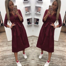 Women Autumn Casual Sashes Button A-Line Dress Office Lady S