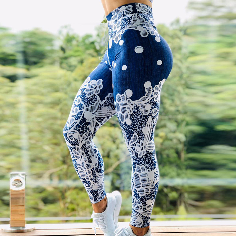 3D Digital Printed Yoga Pant Women Flexible High Waist Fitness Sport Capri Pants Plus Size Jogging Tights S-XL