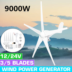 9000W 12V 24V 3/5 Wind Blades Option Wind Power Turbines Generator With Waterproof Charge Controller Fit for Home Or Camping