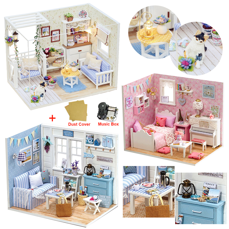 Doll House Furniture DIY Miniature Model Dust Cover 3D Wooden Dollhouse Christmas Gifts Toys For Children Kitten Diary H013