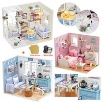 ドールハウスの家具 diy ミニチュアモデルダストカバー 3D 木製ドールハウスクリスマスギフトのおもちゃ子猫日記 H013 -