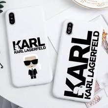 Lagerfeld marca de luxo designer karls caso telefone para iphone 12 11 pro max mini xs 8 7 6s plus x se xr doces branco capa
