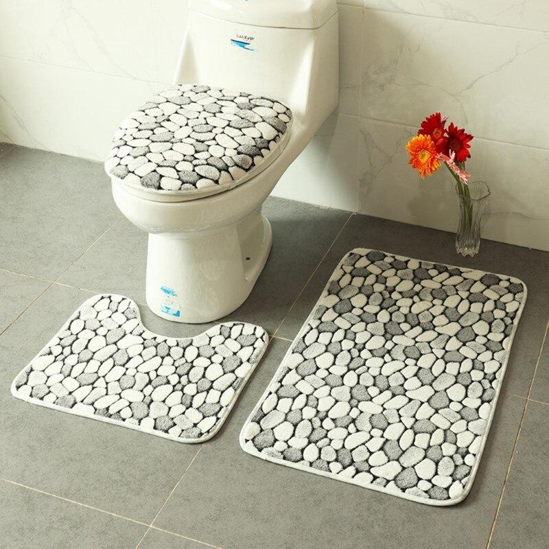 3 pieces/set Cobblestone Pattern Warm Anti-silp Bath Mat Polyester Contour Rug Toilet U-Shape Carpet Bathroom Set