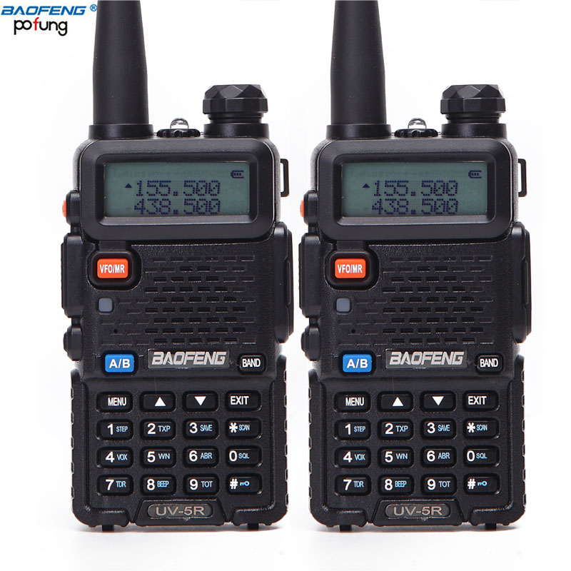 2 PCS Baofeng UV-5R UV 5R UV5R Walkie Talkie Two Way UHF VHF Ham CB Radio Station Transceiver Boafeng Portable For 10 Km Amador