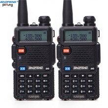 2 pces baofeng UV 5R uv 5r uv5r walkie talkie em dois sentidos uhf vhf ham cb estação de rádio transceptor boafeng portátil para 10 km amador