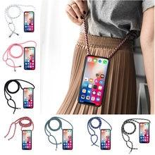 Caso do telefone para lg q6 plus/prime q6a alpha q7 plus q7a q8 q60 q70 silicone caso capa cordão alça de ombro corda cabo coque