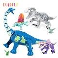 DOLDOLY большой размер динозавр Юрского периода мир т-Рекс индораптор Велоцираптор Трицератопс фигурка игрушка строительный блок игрушки под...