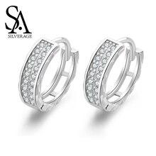 SA SILVERAGE Stud Earring Elegant Silver Zircon 925 Sterling Earrings Korea Personality Simple Ins Female