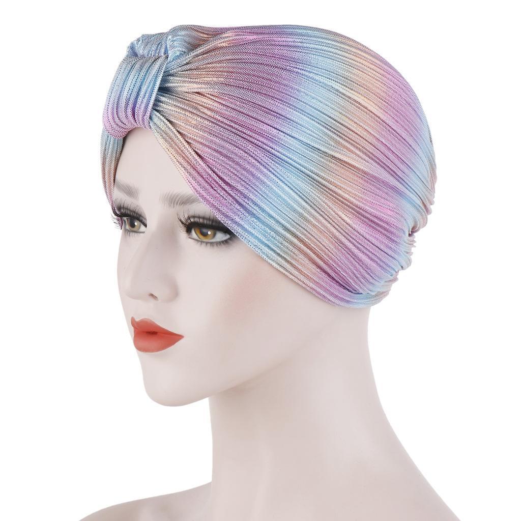 Image 3 - Индийский женский плиссированный головной шарф, шапка  мусульманский тюрбан, Chemo Turban Beanies, женские банданы, аксессуары  для волос, крышка капота, моднаяЖенские Skullies и шапочки   -
