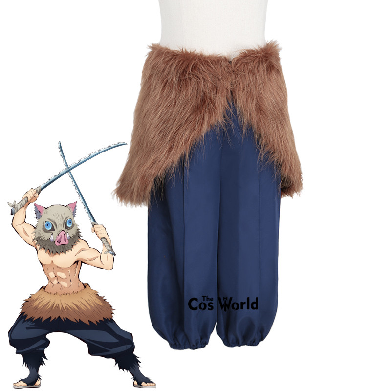 Demon Slayer: Kimetsu no Yaiba Hashibira Inosuke Apron Pants Outfit Anime Cosplay Costumes