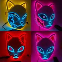 Anime Dämon Slayer Cosplay Maske Sabito Kamado Mascarilla Tanjirou Makomo Masken Halloween Party LED Maske Cosplay Requisiten Masques