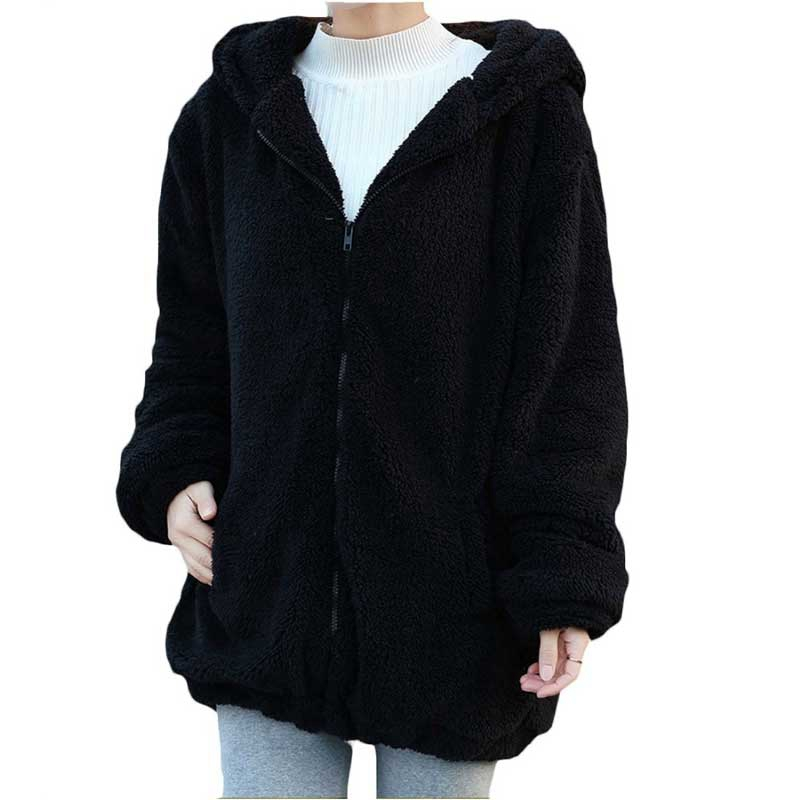 2020 Women Hoodies Zipper Girl Autumn Loose Fluffy Bear Ear Hoodie Hooded Jacket Warm Outerwear Coat Cute Sweatshirts