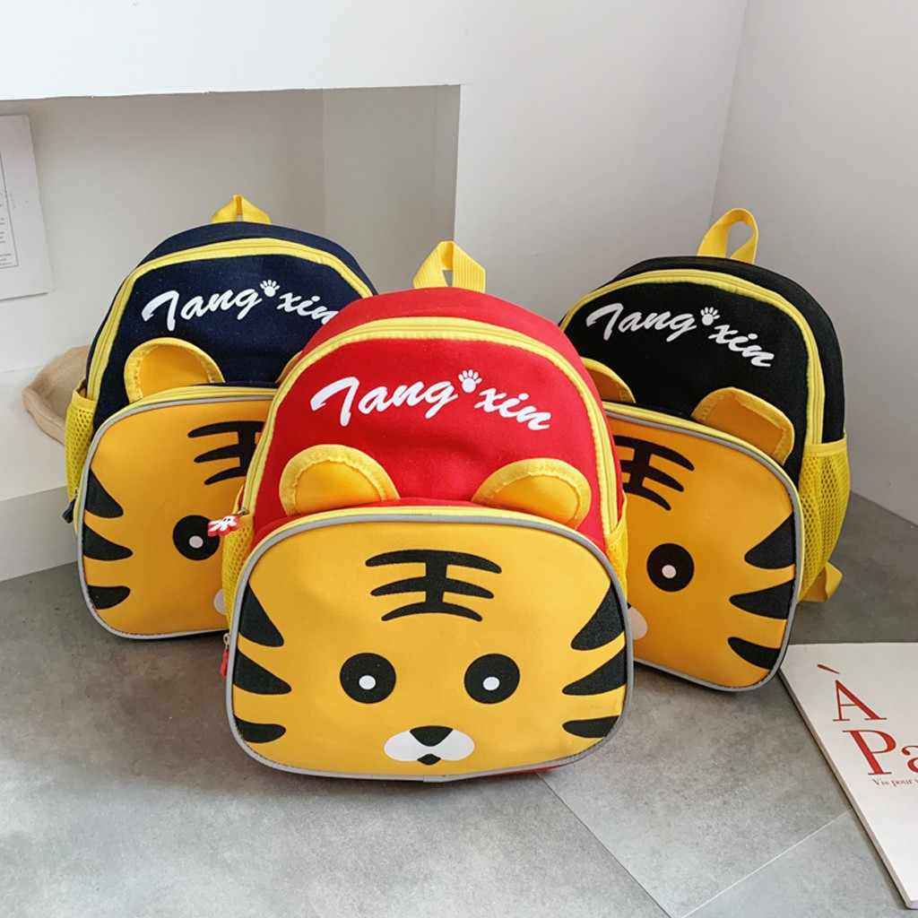 2020 Fashion School Bags For Teenage Girls Solid Color Cartoon Tiger Cute Zipper Nylon Children's Bag Shoulder Bag Kids Backpack