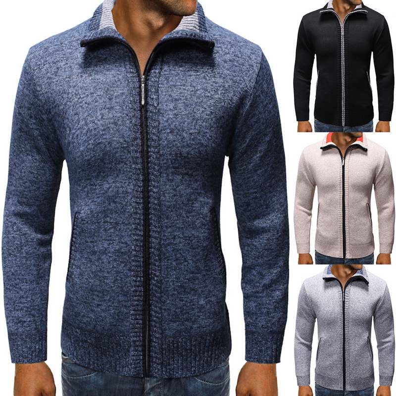 2019 New Casual Men Sweatercoat Cardigan Sweater Coat New Winter Zipper Male Autumn Stand Collar Solid Fit Knit Sweater Hombre