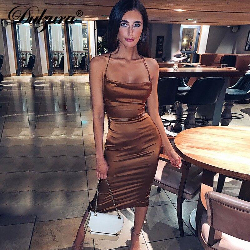 Dulzura néon satin à lacets femmes longue robe midi moulante dos nu élégant fête sexy club vêtements 2019 automne hiver dîner