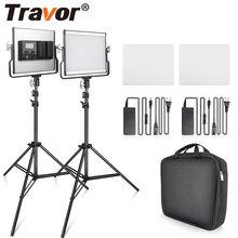 Travor 2で1 2色ledビデオライトキットスタジオライトuブラケットカメラライト3200 18k 5600 5500kの写真撮影の照明youtubeの