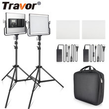 Travor 2 in 1 Bi color LED Video Light kit studio light with U Bracket camera light 3200K 5600K photography lighting for YouTube
