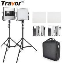 Travor 2 w 1 bi color światło LED do kamery zestaw lampa studyjna z uchwytem U światło do kamery 3200K 5600K oświetlenie fotograficzne do YouTube