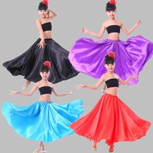 Baby Meisjes Dance Kostuums Red Stadium Slijtage Prestaties Jurk Spaanse Flamenco Rok Swing Ballroom Rok Satijn Effen Plus Size(China)