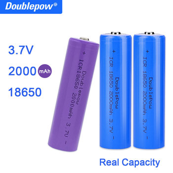 True Capacity 100% new original Doublepow 18650 battery 3.7v 2000mah 18650 rechargeable lithium battery for flashlight batteries