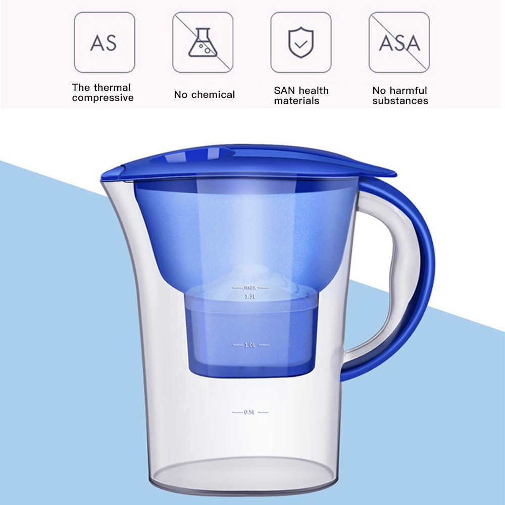 2.5L Brita Filter Air Karbon aktif Bersih Ketel Air Filter Purifier Kendi Air Lonizer Alkaline Disaring Pot Dapur