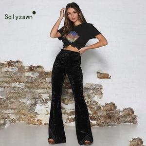 Image 4 - ฤดูใบไม้ร่วงฤดูหนาวกำมะหยี่ยาว Flare กางเกงผู้หญิงเกาหลี Streetwear เซ็กซี่สูงเอวกางเกง Velour สีแดงสีดำกระดิ่งด้านล่างกางเกง