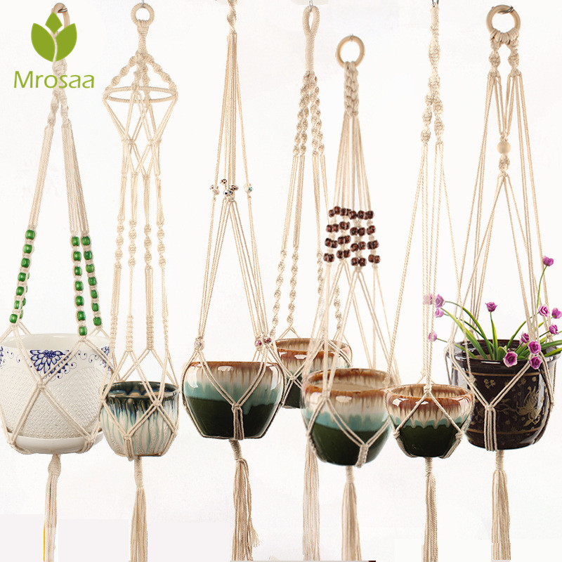 Vintage Decor 100% Handmade Macrame Hanging Knotted Lifting Rope Plant Hanger Flower Pot Hanger for Wall Decoration Garden