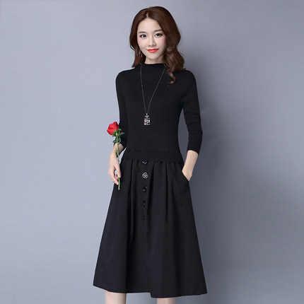 새로운 가을 대형 가짜 두 조각 여성 드레스 긴 소매 패치 워크 여성 드레스 니트 드레스 Mujer LX1438 es