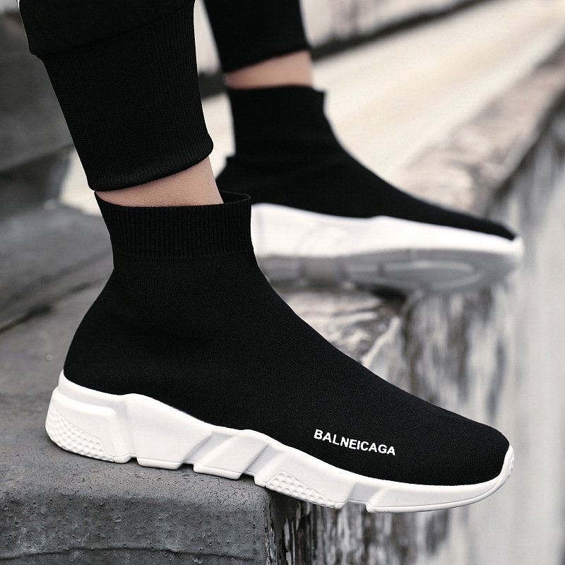 New Style Canvas Men's Shoes Trend All Season Men's 2019 Leisure Trend Shoes Socks Fly Woven High Top Board Shoes Sneaker