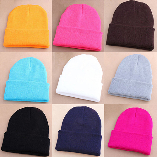15 Color Men Women Beanie Knit  Cap Hip-Hop Winter Warm Elastic Wool Yarn Cuff Hat Knitted Unisex Solid Color Casual Beanie Cap