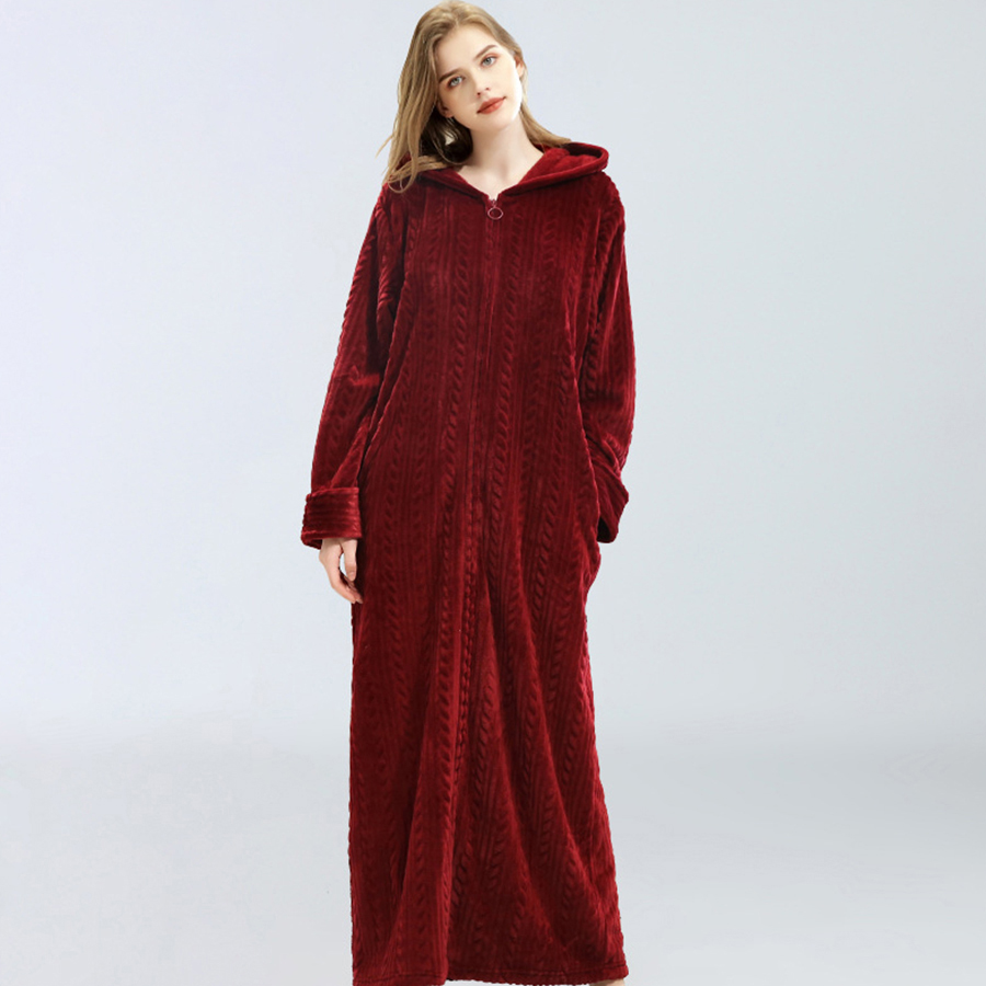 Winter Flannel Long Bathrobe Women Warm Hooded Zipper Homewear Robe Ankle-Length Bridesmaid Robes Dressing Gown Female Plus Size