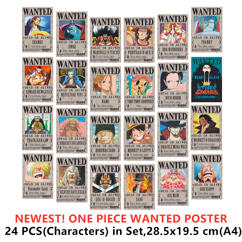 24 PCS/LOT ONE PIECE Wanted Newest Posters Luffy  Jinbe Nami Chopper Robin Zoro Sanji Usopp Franky NEWGATE SABO ACE BIG MOM Toys