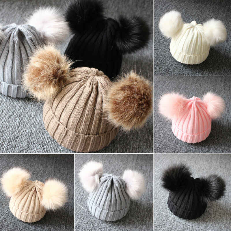 ฤดูหนาวน่ารักฤดูหนาวเด็กสาวหมวกเด็กทารกหญิงถัก Pom Pom Beanie หมวกโครเชต์บอล Bobble หมวกสีเด็กหมวก