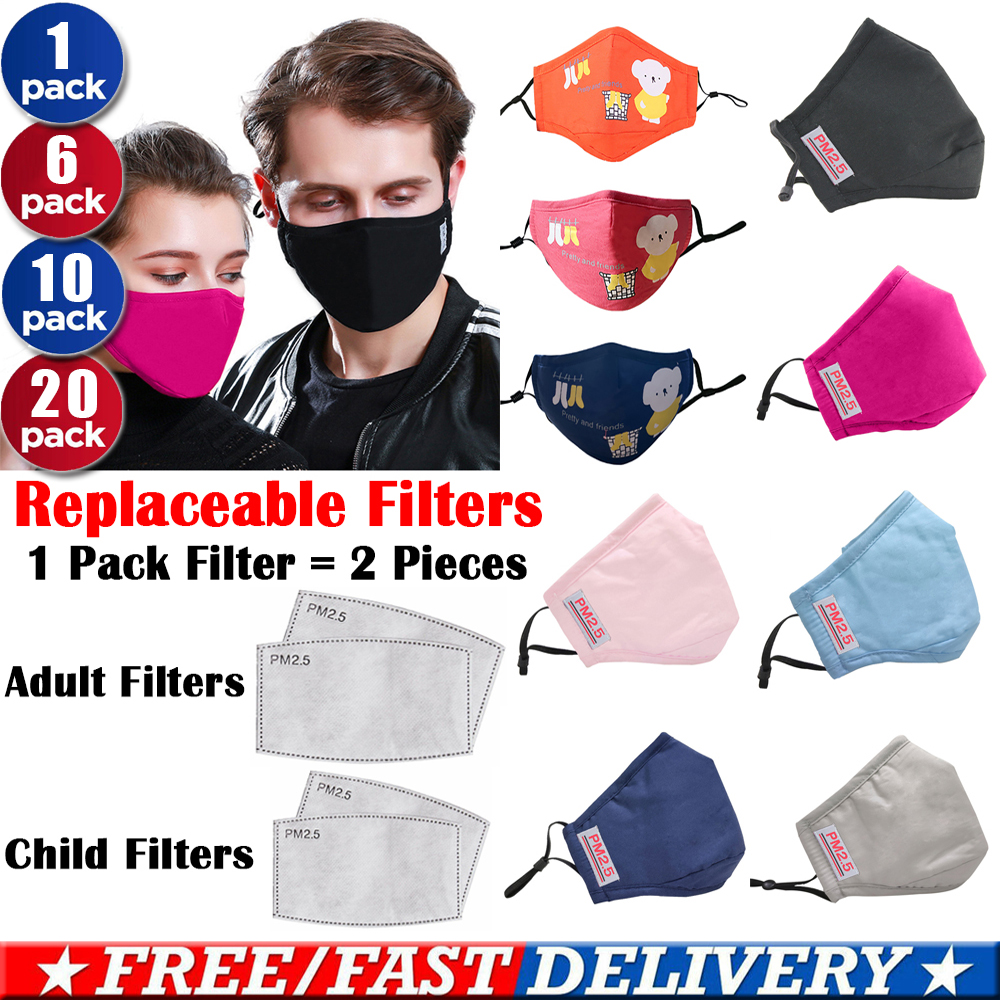 Anti PM2.5 Mouthmask Washable Face Mask Filters Dust Pollution Respirator Unisex Anti-Fog Breath Muffle Protective Prepper D40