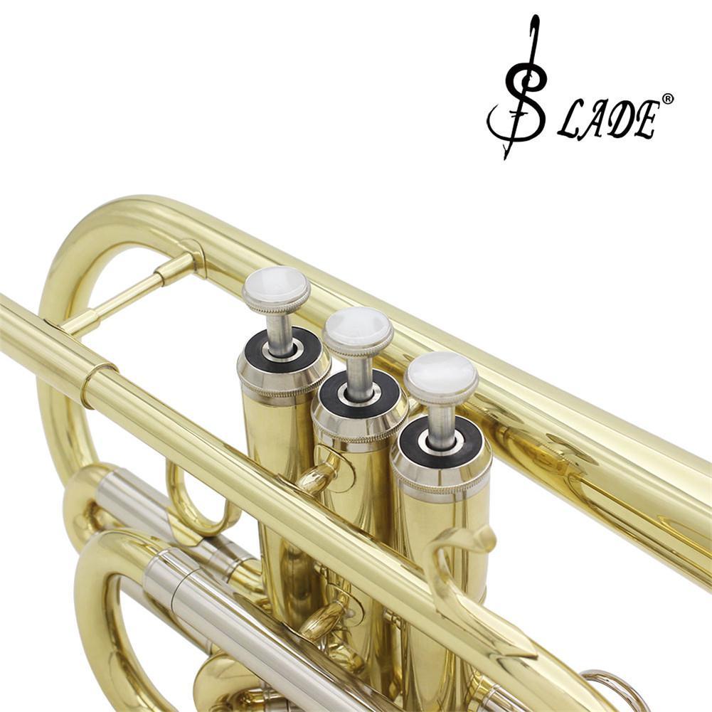 SLADE Профессиональный Золотой Bb cornet Silve ключ латунный инструмент с Чехол перчатки, Чистящая салфетка кисти