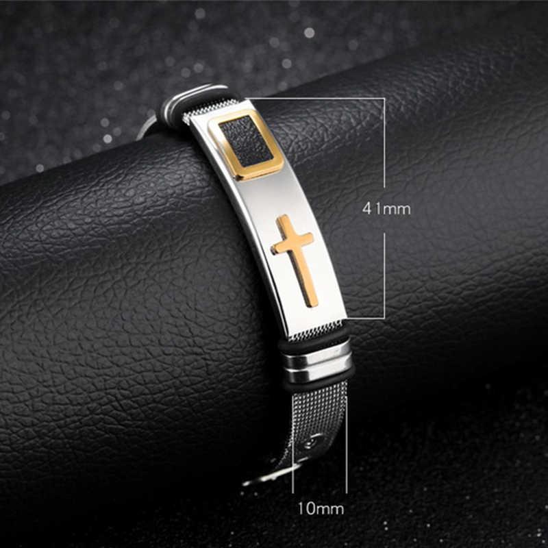 Сетчатый Браслет христианский крест браслет-четки Серебряный регулируемый браслет из нержавеющей стали дизайн браслета 1 шт браслеты крест черный золотой