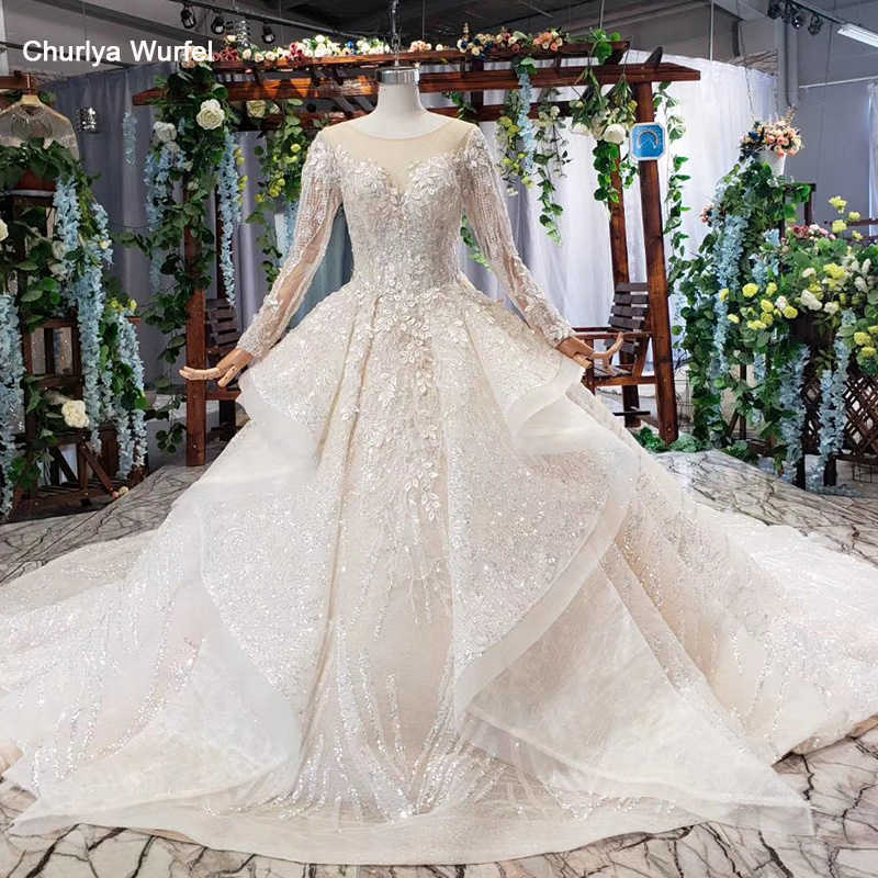 HTL577 cascade ruched Wedding Dress plus size o neck long sleeves lace up keyhole back lace bride dress gown 2020 vestito sposa