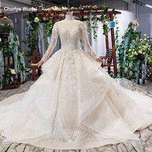 HTL577 cascade dantelli düğün elbisesi artı boyutu o boyun uzun kollu dantel up keyhole geri dantel gelinlik elbisesi 2020 vestito sposa