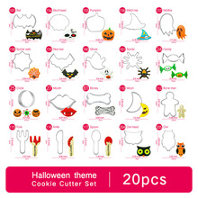 Halloween Cookie Cutter Set - 20pcs Tools Mould Biscuit Press Mold Stainless Steel Cake Decorating for Party