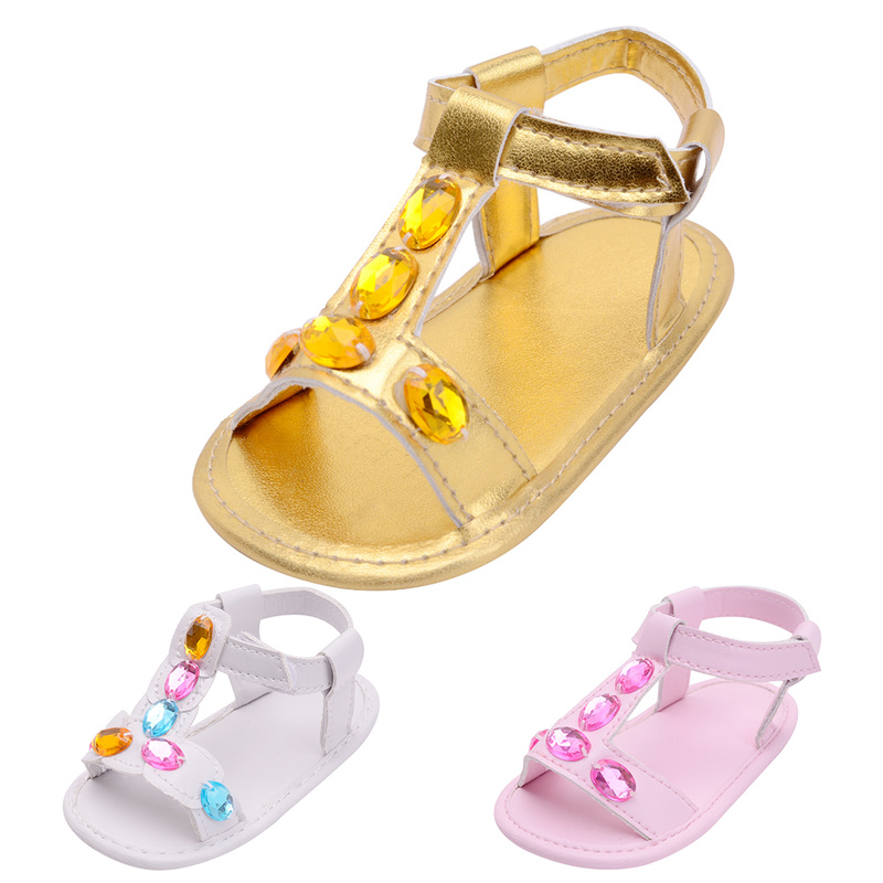 Baby Shoes Girl Boy Sandals Toddler Infant New PU Soft Sole Solid Diamond Outdoor Walking Prewalker Summer Baby Shoes