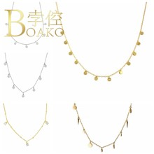 BOAKO Necklace 925 Sterling Silver Jewelry For Women 2020 Sequins Cadena Plata Fashion Jewelry Choker Crystal Gold/Silver #8.5