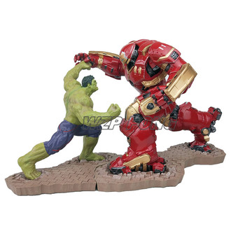 26CM 3 Colour Avengers Hulkbuster Vs Hulk Figurine Dolls Toys Resin Statue Bust Action Figure Collectible Model Toy Set Gift