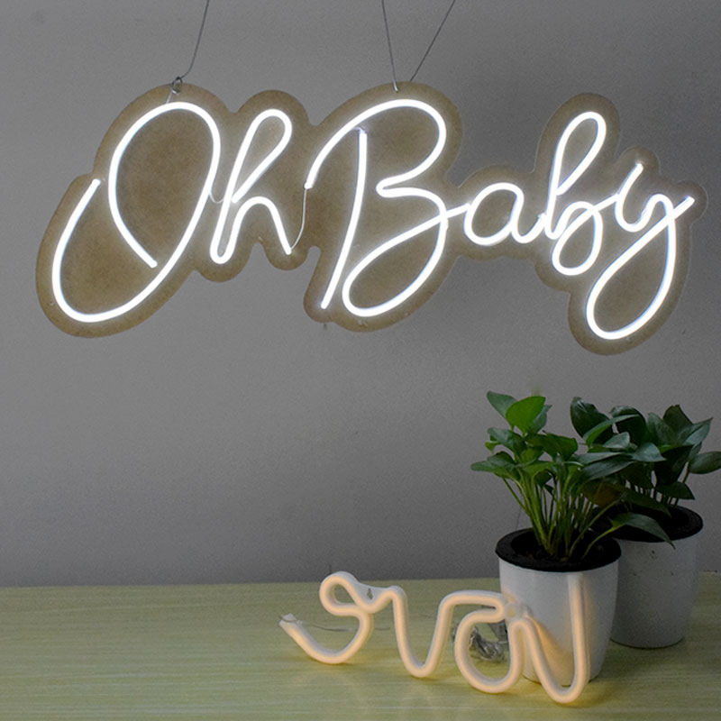 Flex Led 3D Oh Baby Custom Neon Signs Lights Letters for Wall Decor Wedding Party image