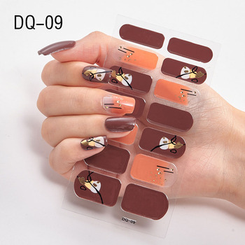 14pcs/sheet Glitter Gradient Color Nail Stickers Nail Wraps Full Cover Nail Polish Sticker DIY Self-Adhesive Nail Art Decoration 110