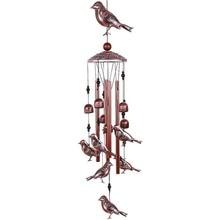 Campanas de viento para pájaros, campanas de viento de Metal impermeables con 4 tubos de aluminio, 6 campanas, carillón de viento romántico para el hogar